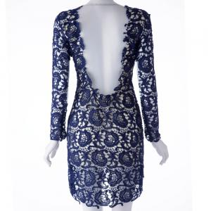 Sexy Round Neck Voile Hollow Out Spliced Backless Long Sleeve Women's Dress -