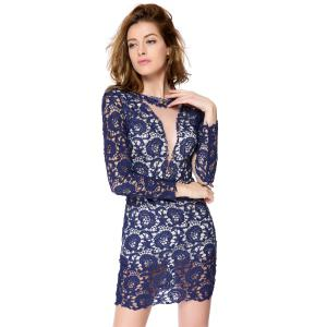 Dress Sexy col rond Voile évider Spliced ​​Backless femmes manches longues -