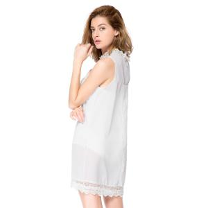 Simple Turtle Neck Sleeveless Spliced Solid Color Loose-Fitting Women's Dress - WHITE L