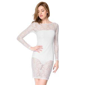 Sexy Strapless Sleeveless Solid Color Inner + Lace See-Through Dress Women's Twinset