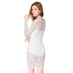 Sexy Strapless Sleeveless Solid Color Inner + Lace See-Through Dress Women's Twinset - WHITE S