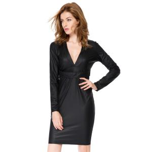 Plunging Neck Faux Leather Long Sleeve Bandage Dress - Black - M