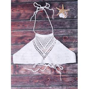 Sexy Halter Solid Color Hollow Out Crochet Women's Tank Top - White - One Size