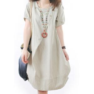 Casual Scoop Neck Short Sleeve Loose-Fitting Women's Dress - White - L