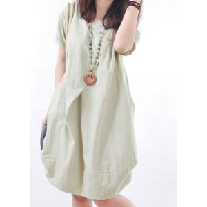 Casual Scoop Neck Short Sleeve Loose-Fitting Women's Dress -