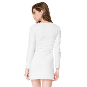 Short Button Long Sleeves Sheath Dress - WHITE M