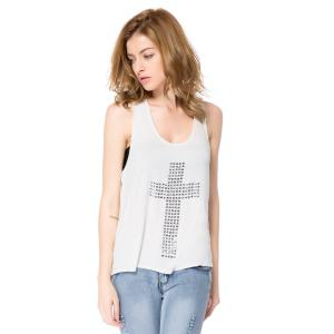 Women's Rhinestones Cross Hot Drill Racerback Low O-neck Slim Tanks -