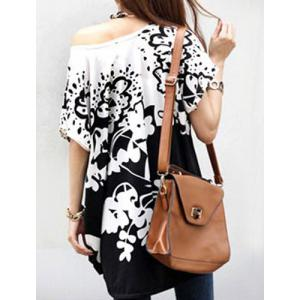 Stylish Scoop Neck Short Sleeves Floral Print Loose T-Shirt For Women -
