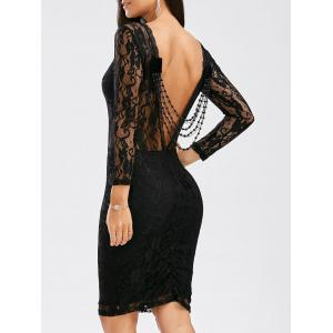 Sexy Long Sleeve Backless Slimming See-Through Dress - Black - L