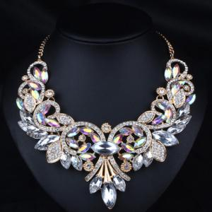 Diamante Rhinestone Flower Shape Necklace
