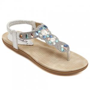 Fashionable Elastic and Rhinestones Design Women's Sandals