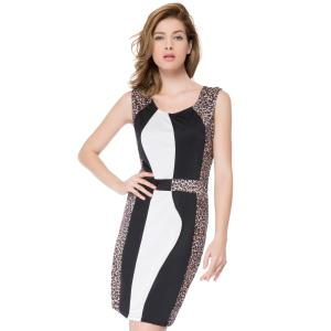 Color Block Leopard Mini Bodycon Dress