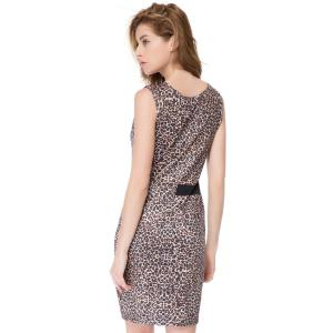 Color Block Leopard Mini Bodycon Dress - LEOPARD S
