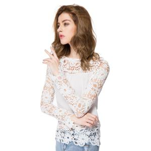 Stylish Round Neck Long Sleeve Spliced Hollow Out Women's Blouse - WHITE S