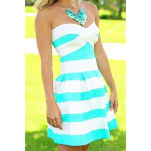 Strapless Striped Color Block Sleeveless Homecoming Dress - Blue And White - S