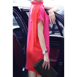Vintage Keyhole Neck Short Sleeves Color Splicing Dress For Women -