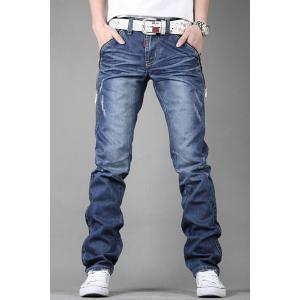 Stylish Personality Zipper Design Pocket Slimming Bleach Wash Straight Leg Men's Jeans - Blue - 32