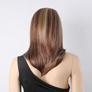 Sparkle Mix Color Middle Length Straight Heat-Resistant Synthetic Wig For Women -