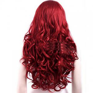 Attractive Side Bang Red Extra Long Deep Wave Synthetic Wig For Women -