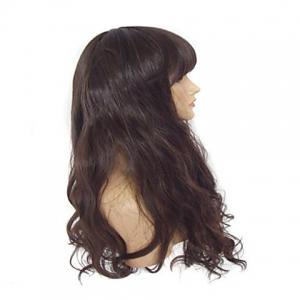 Vogue Full Bang Imported Heat-Resistant Fiber Long Wavy Brown Synthetic Wig For Women - BROWN