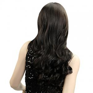 Stylish Long Wavy Natural Black Synthetic Wig With Side Bang For Women -
