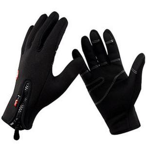 2Pcs FLL Windstopper Softshell Outdoor Sports Full-finger Gloves for Winter Riding Cycling Racing - Black - S