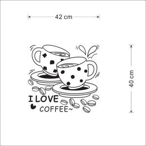 I Love Coffee Style Wall Sticker Home Appliances Decor Wall Decals - BLACK