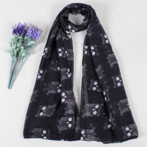 Chic Cartoon Owls Pattern Color Block Voile Scarf For Women - Black