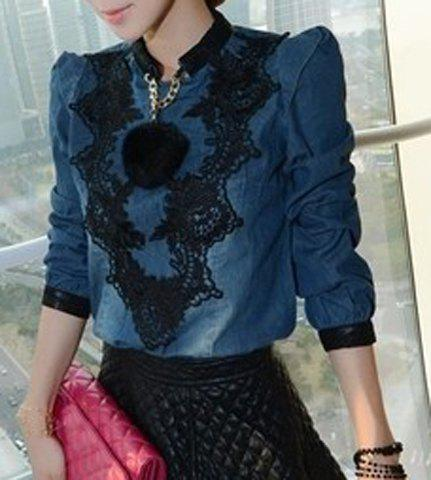 Fashionable Stand Collar Lace Splicing Long Sleeve Women's Denim Blouse - Blue - L