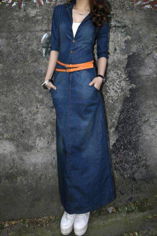 Trendy Casual Turn-Down Collar Solid Color Half Sleeve Denim Women's Maxi Dress