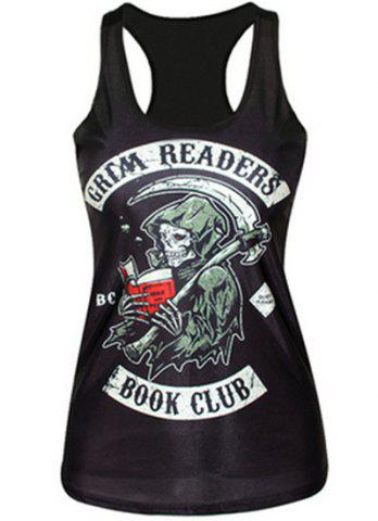 Outfit Street Style Sleeveless Scoop Neck Skull Print Women's Tank Top