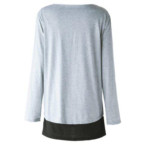 Hot Elegant Scoop Neck Long Sleeve Faux Twinset Design T-Shirt For Women - 2XL LIGHT GRAY Mobile