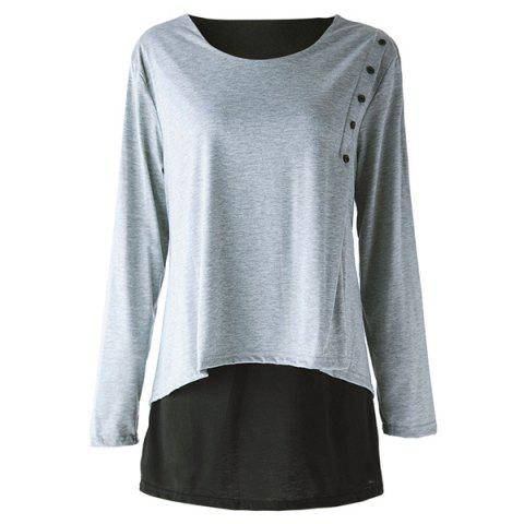 Elegant Scoop Neck Long Sleeve Faux Twinset Design T-Shirt For Women - LIGHT GRAY 2XL