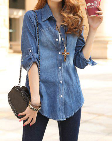 Shops Casual Style Turn-Down Collar Solid Color Single-Breasted Long Sleeve Women's Denim Blouse