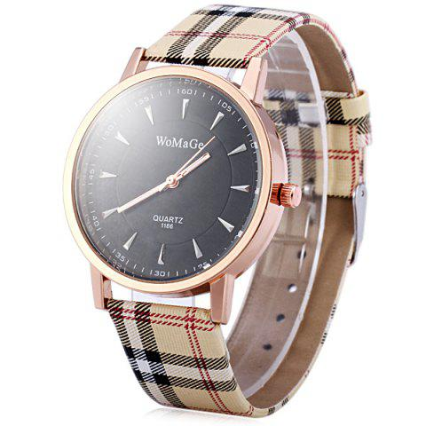 Best WoMaGe 1186 Female Quartz Watch Round Dial with  Leather Band