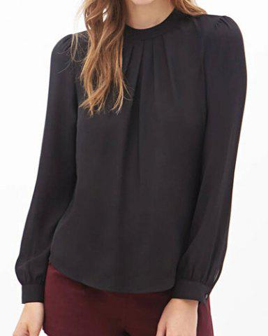 Stand Collar Long Sleeve Solid Color Chiffon Blouse For Women $13.47 AT vintagedancer.com