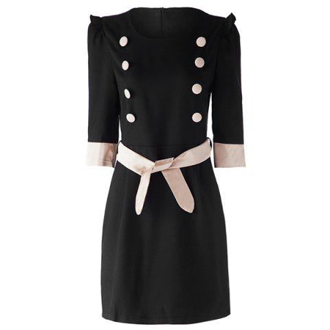 Outfit Stylish Round Neck Button Design Lace-Up 3/4 Sleeve Women's Dress BLACK L