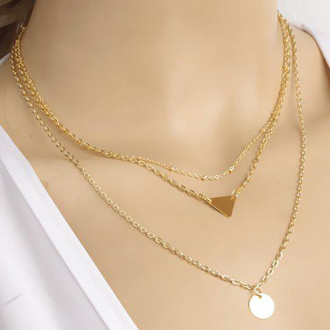 Disc Triangle Pendant Layered Necklace - GOLDEN