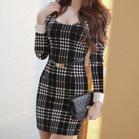 Chic Sexy U-Neck Long Sleeve Slimming Plaid Women's Dress