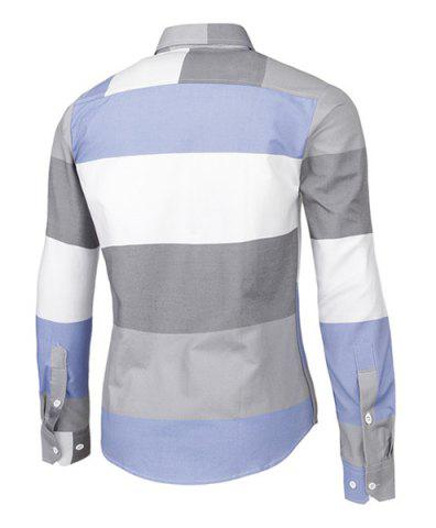 Cheap Trendy Distinct Color Block Stripes Print Turn-down Collar Slimming Long Sleeves Men's Shirt - XL COLORMIX Mobile