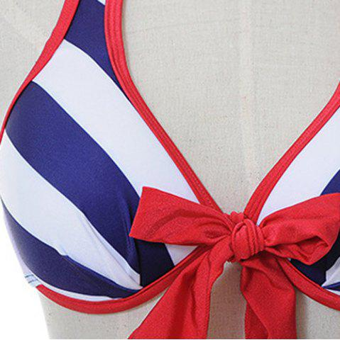 Chic Alluring Halter Bowknot Embellished Striped Three-Piece Women's Swimsuit - M BLUE Mobile