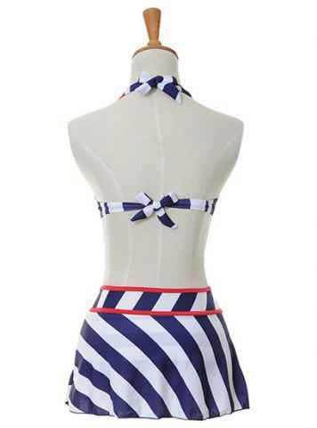 Hot Alluring Halter Bowknot Embellished Striped Three-Piece Women's Swimsuit - M BLUE Mobile