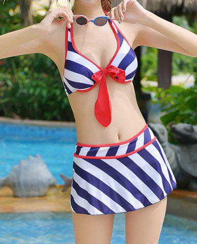 Fancy Alluring Halter Bowknot Embellished Striped Three-Piece Women's Swimsuit - M BLUE Mobile