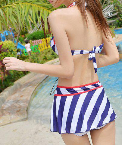 Trendy Alluring Halter Bowknot Embellished Striped Three-Piece Women's Swimsuit - M BLUE Mobile