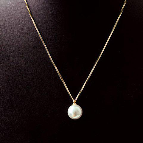 Discount Round Faux Pearl Pendant Necklace AS THE PICTURE