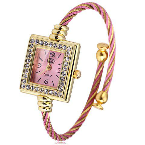 Shop USS 1198 Women Quartz Watch Diamond Bracelet Steel Strap Rectangle Dial WATER RED
