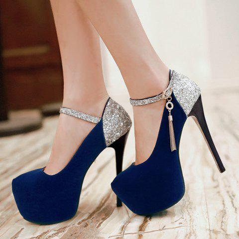 New Sexy Tassels and Sequined Design Women's Pumps - 38 BLUE Mobile