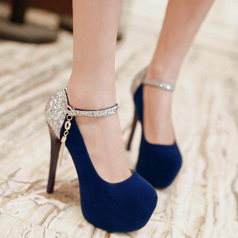 Outfits Sexy Tassels and Sequined Design Women's Pumps - 38 BLUE Mobile