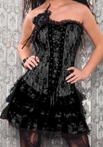 Lace Embroidered Stereo Flower Decorated Corset $16.82 AT vintagedancer.com