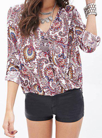 Fashion Stylish Plunging Neck Long Sleeve Printed Chiffon Women's Blouse